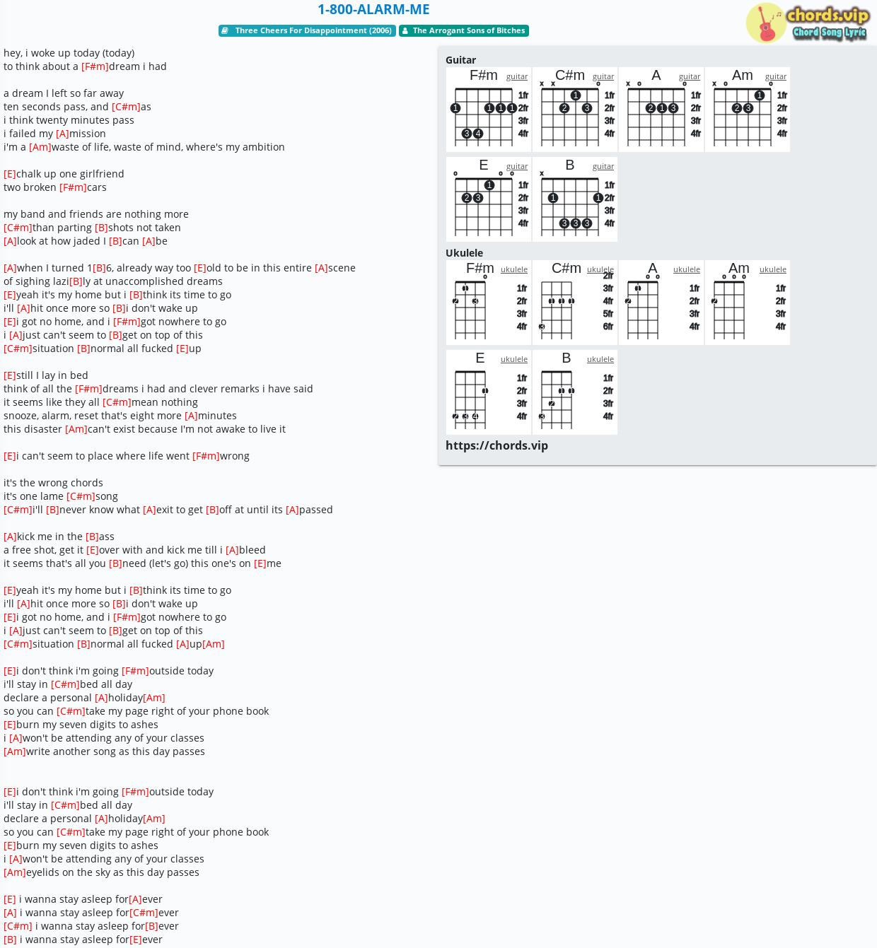 Chord: 1-800-ALARM-ME - The Arrogant Sons of Bitches - tab, song lyric,  sheet, guitar, ukulele | chords.vip