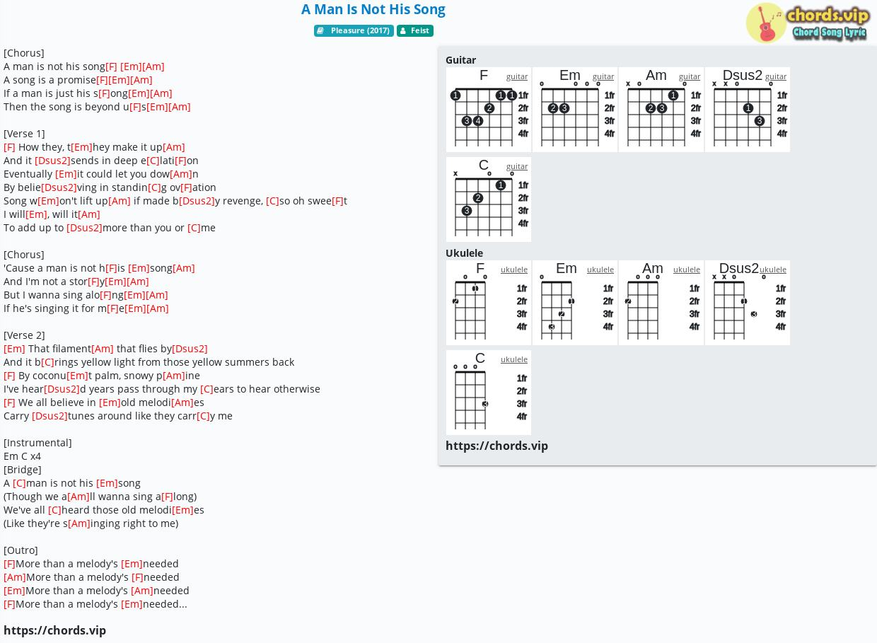 Chord: A Man Is Not His Song - Feist - tab, song lyric, sheet, guitar,  ukulele | chords.vip