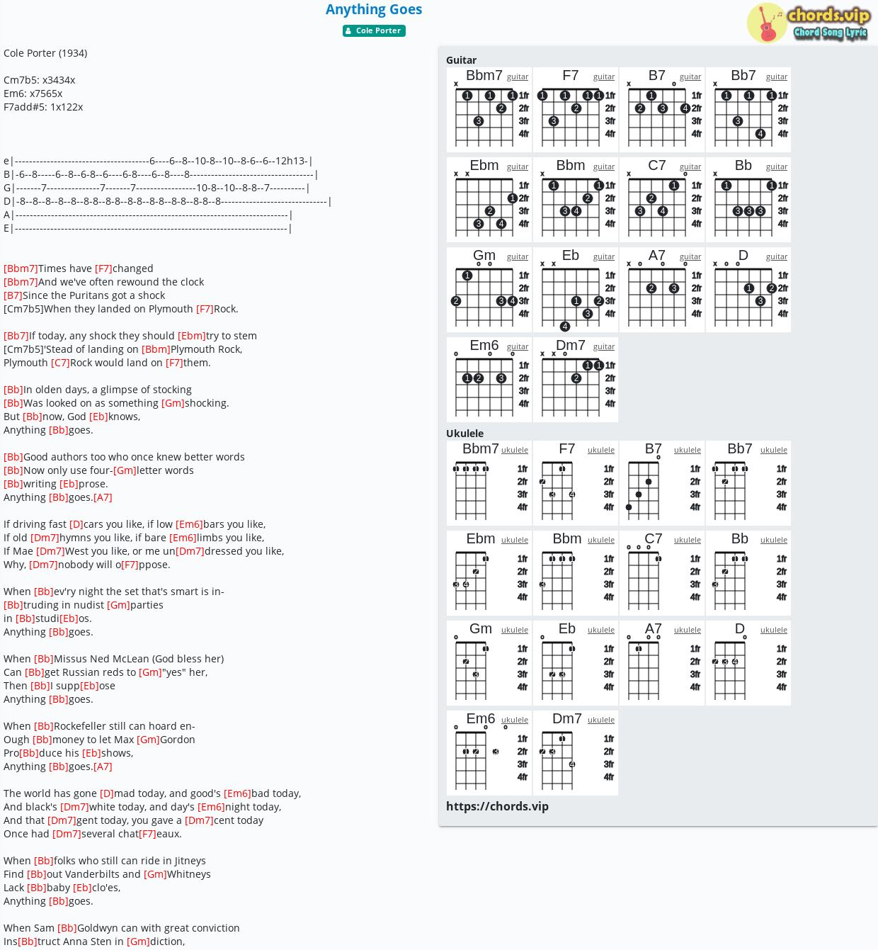 Chord Anything Goes   Cole Porter   tab, song lyric, sheet ...