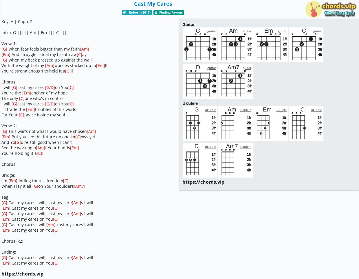 Chord Cast My Cares   Finding Favour   tab, song lyric, sheet ...
