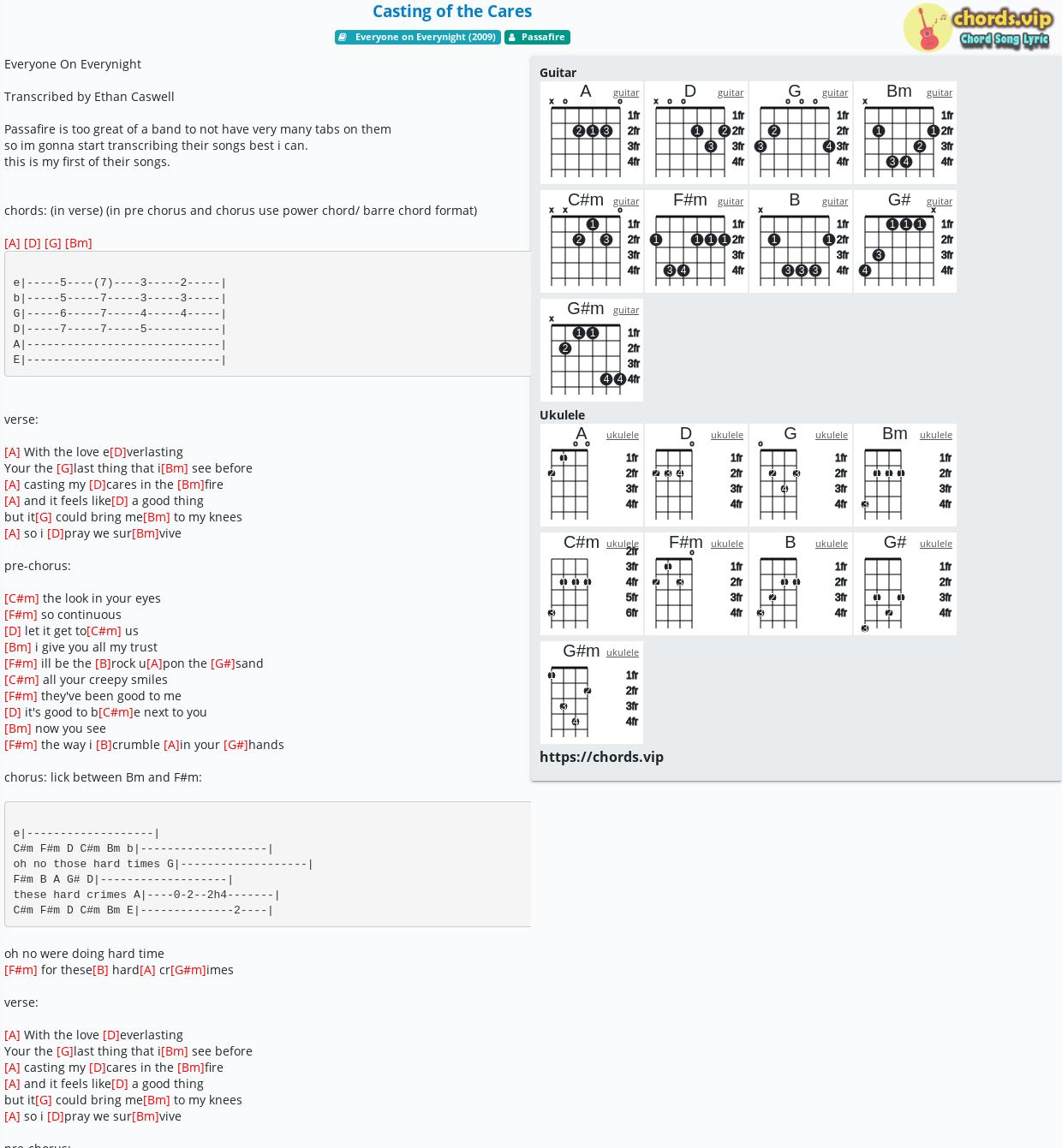Chord Casting of the Cares   Passafire   tab, song lyric, sheet ...