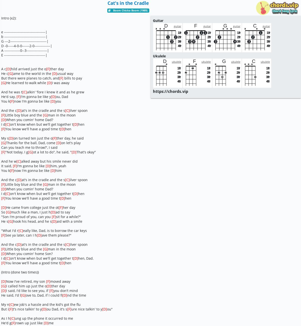 Chord Cat's in the Cradle   Johnny Cash,Harry Chapin   tab, song ...