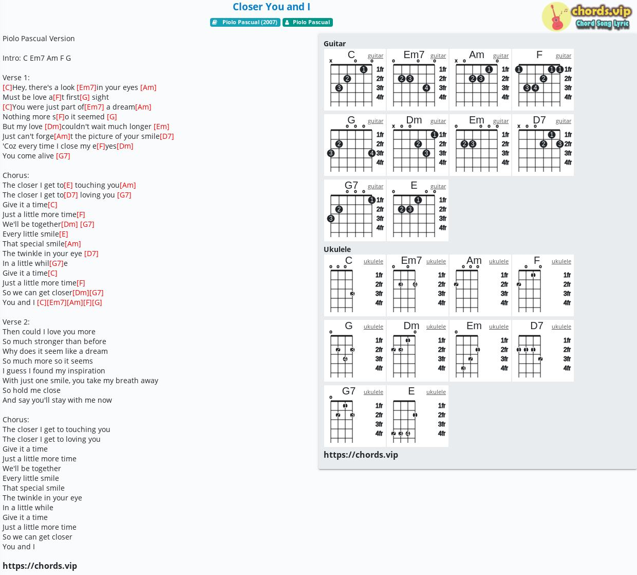 You And I Chords
