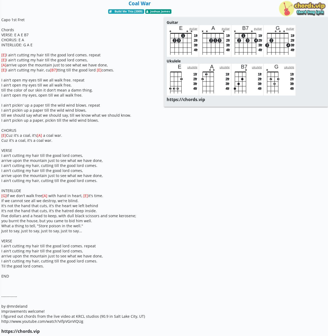 Chord: Coal War - Joshua James - tab, song lyric, sheet, guitar