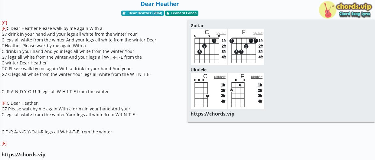 Chord Dear Heather Leonard Cohen Tab Song Lyric Sheet Guitar Ukulele Chords Vip Popular guitar winter of good quality and at affordable prices you can buy on aliexpress. tab song lyric sheet guitar ukulele