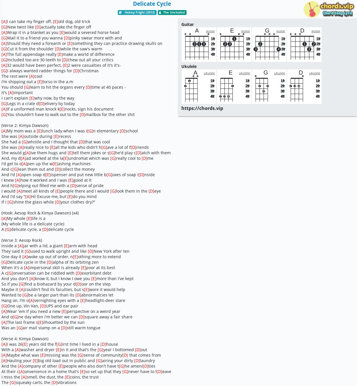 Chord Delicate Cycle   The Uncluded   tab, song lyric, sheet ...