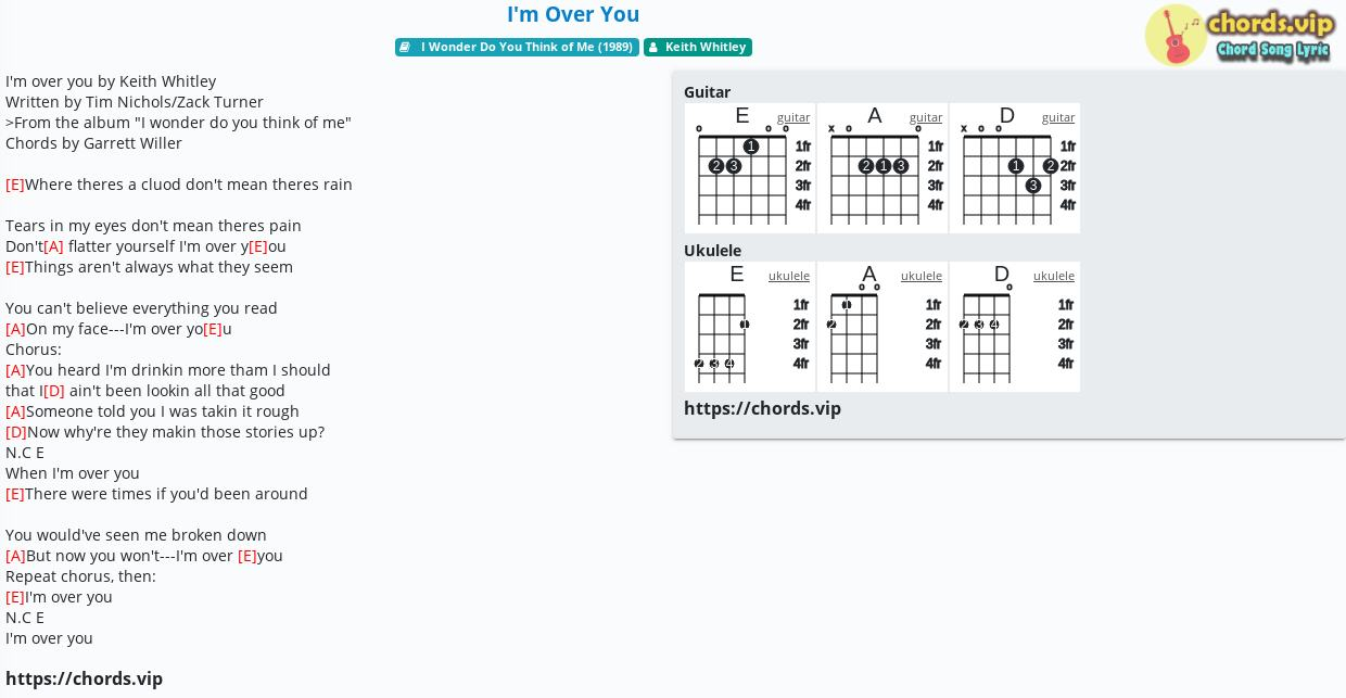 Chord I'm Over You   Keith Whitley   tab, song lyric, sheet ...
