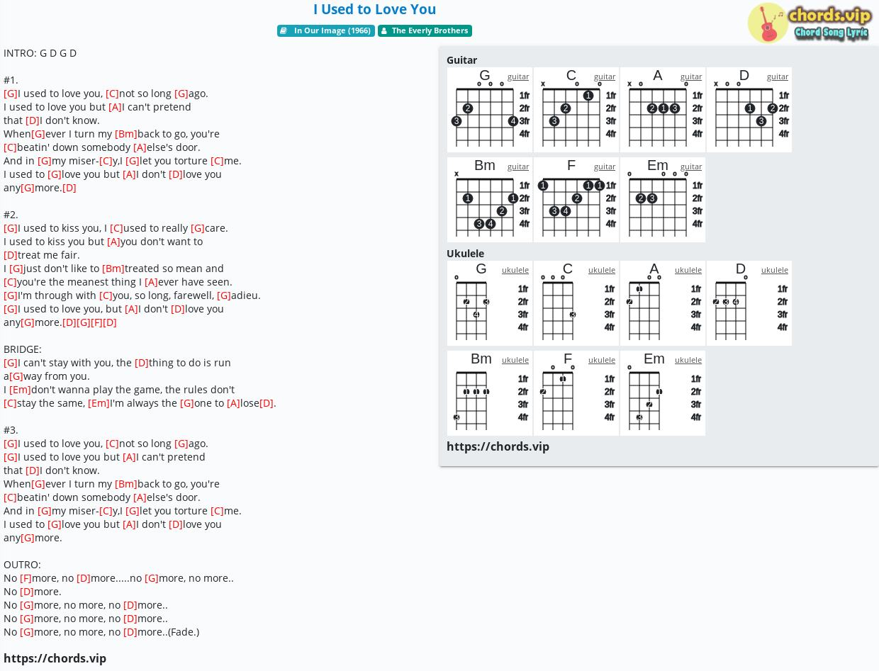 Chord: I Used to Love You - The Everly Brothers - tab, song lyric, sheet,  guitar, ukulele   chords.vip