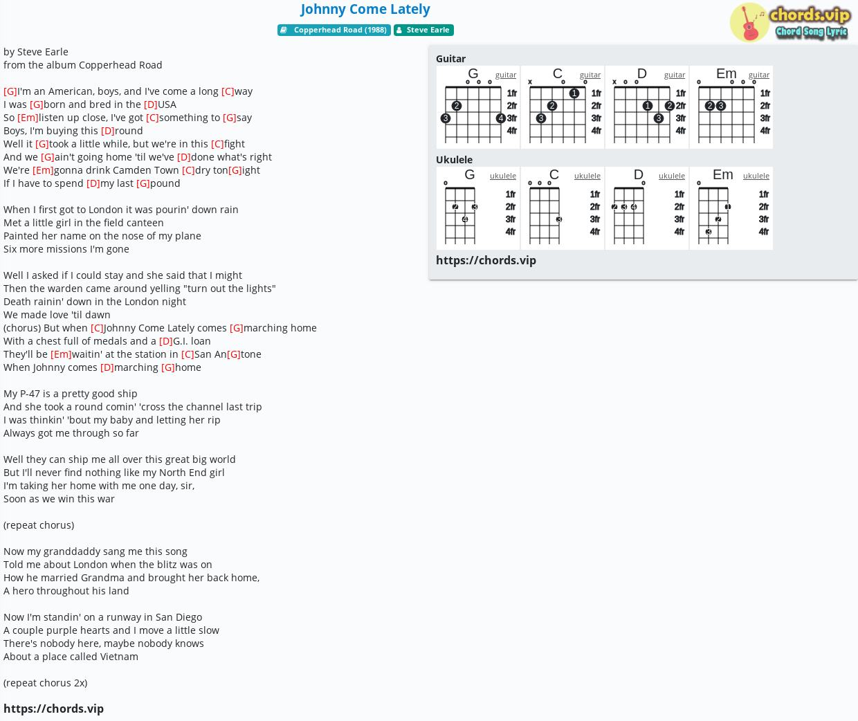 Chord Johnny Come Lately   Steve Earle   tab, song lyric, sheet ...