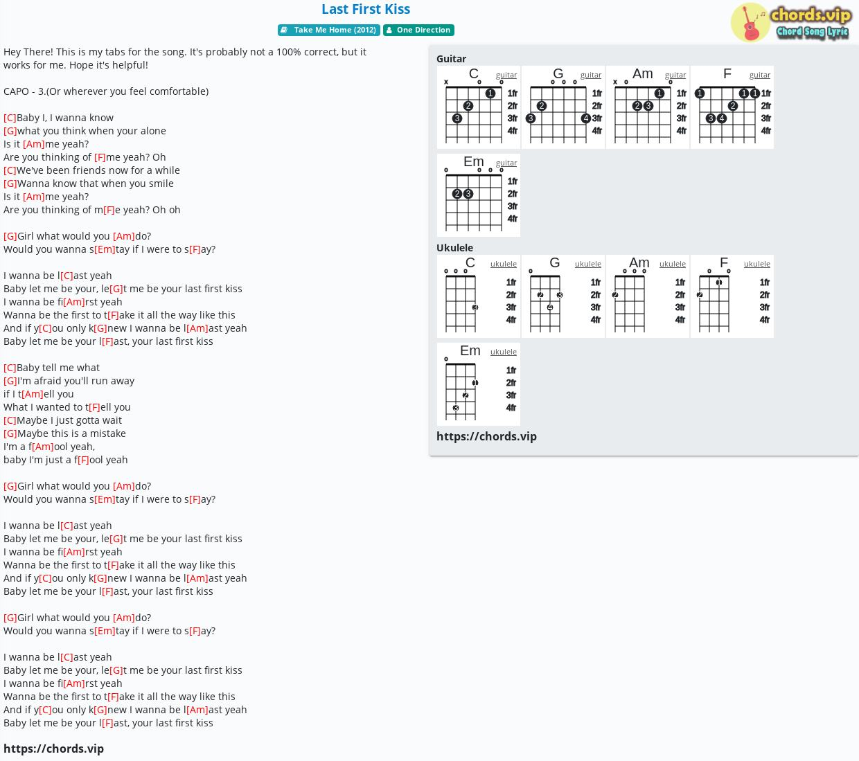 Chord Last First Kiss   One Direction   tab, song lyric, sheet ...