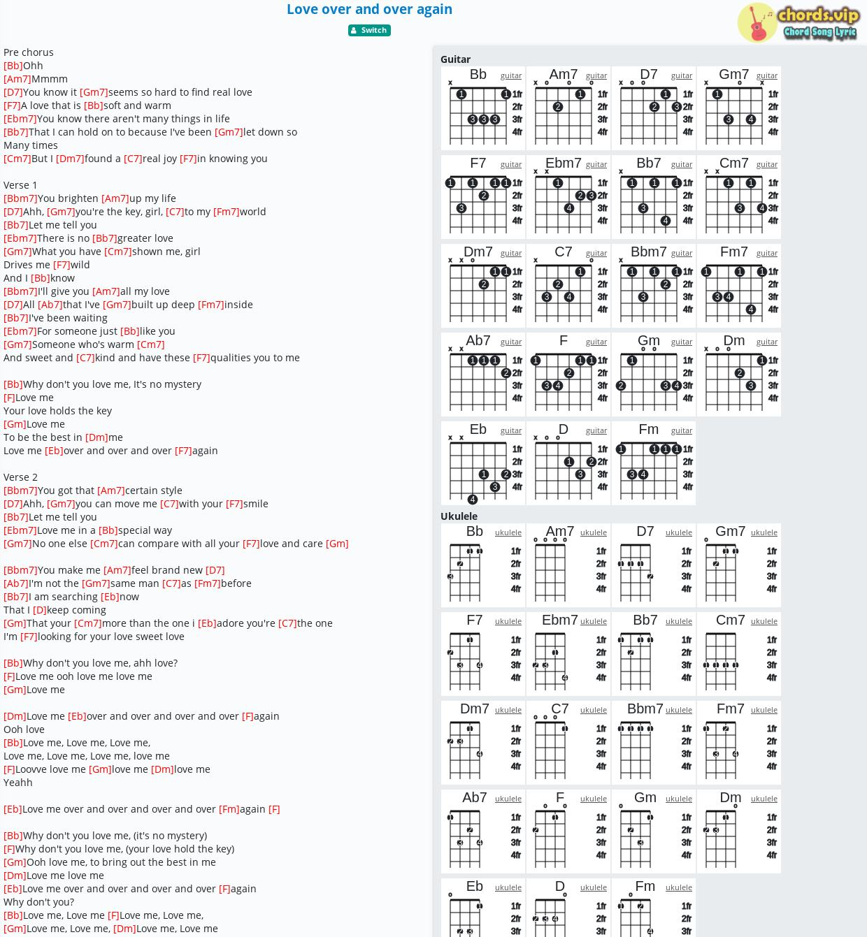 Chord Love over and over again   Switch   tab, song lyric, sheet ...