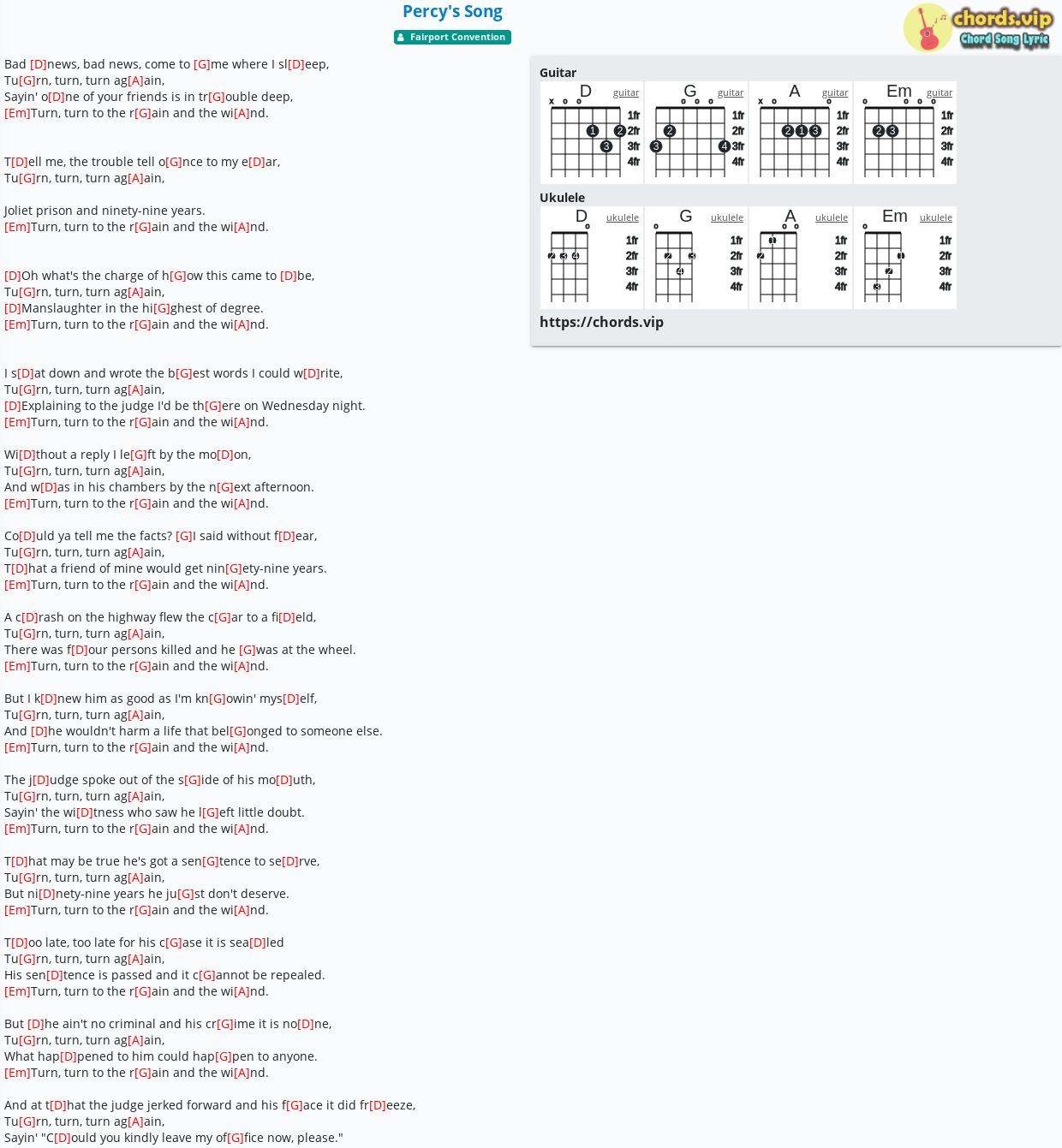 Chord Percy's Song   Fairport Convention   tab, song lyric, sheet ...
