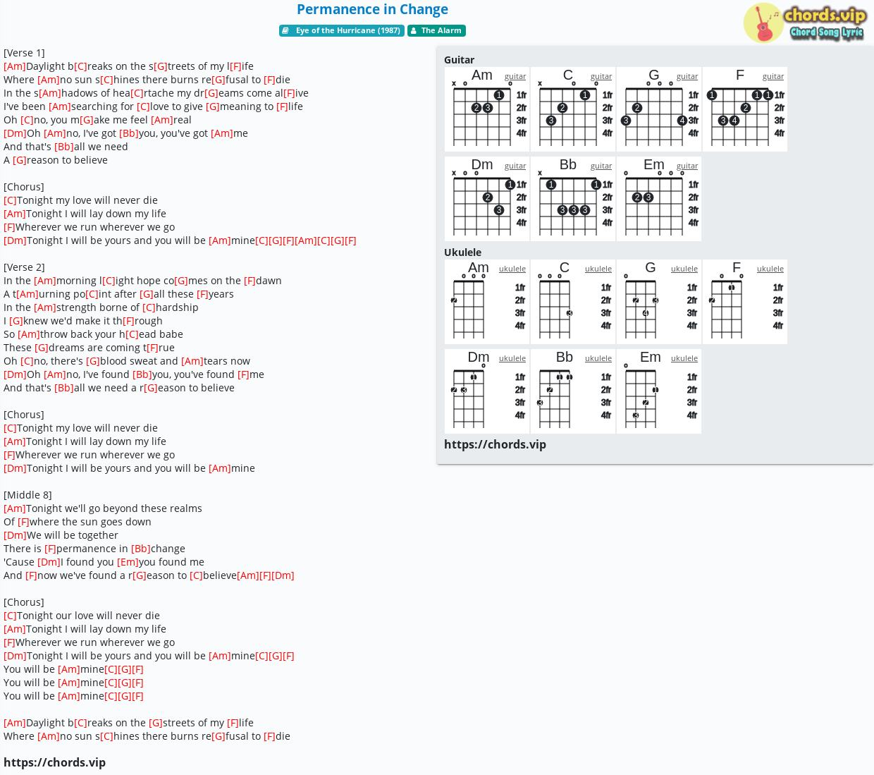 Chord Permanence In Change The Alarm Tab Song Lyric Sheet Guitar Ukulele Chords Vip Find your perfect arrangement and access a variety of transpositions so you can print and play instantly, anywhere. chords vip