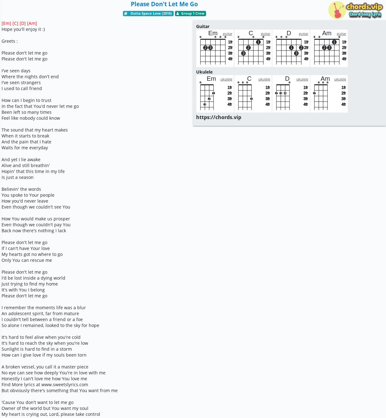 Chord Please Don't Let Me Go   Group 15 Crew   tab, song lyric ...