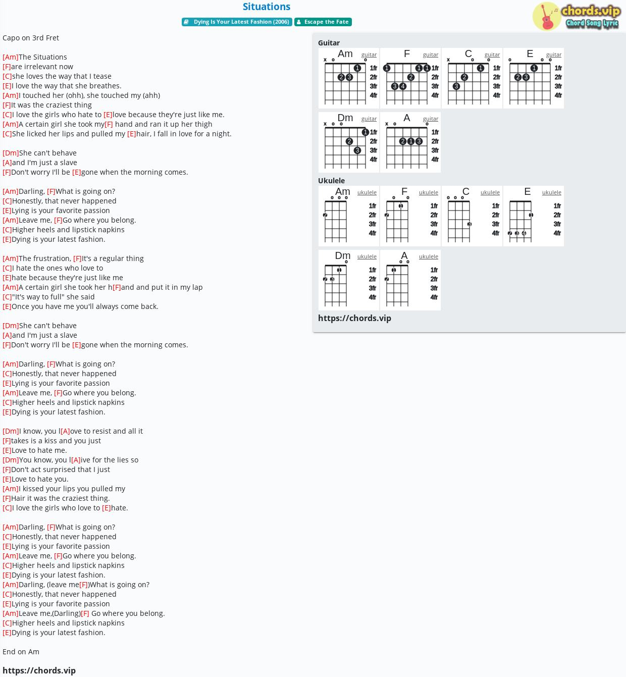 Chord Situations   Escape the Fate   tab, song lyric, sheet ...