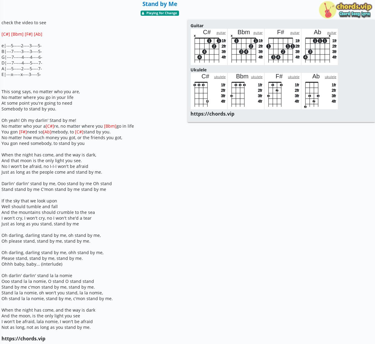 Chord Stand by Me   Playing for Change   tab, song lyric, sheet ...