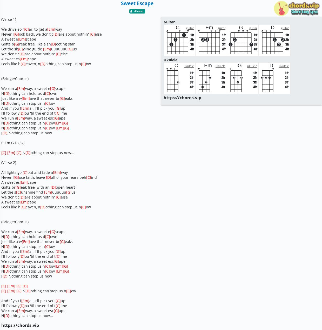 Chord Sweet Escape   Alesso   tab, song lyric, sheet, guitar ...