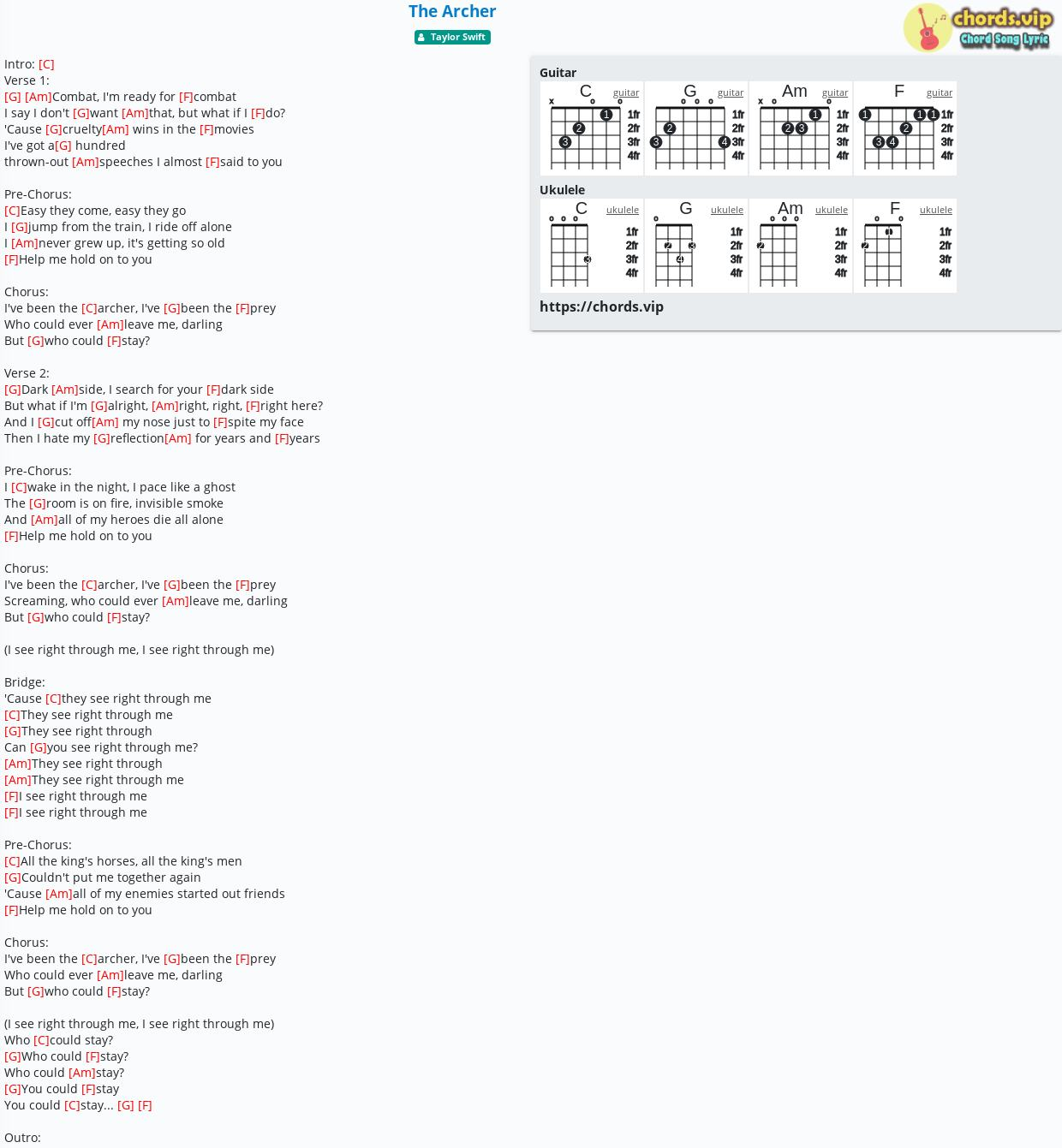 Taylor Swift Guitar Chords Easy