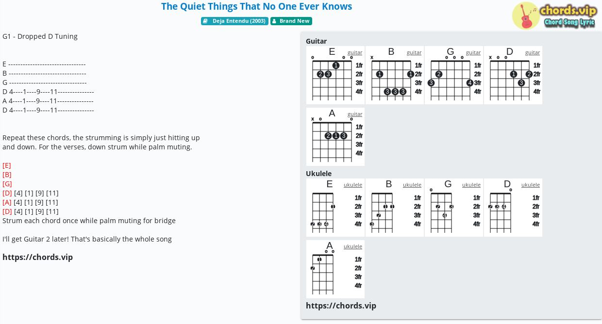 Chord The Quiet Things That No One Ever Knows   Brand New   tab ...