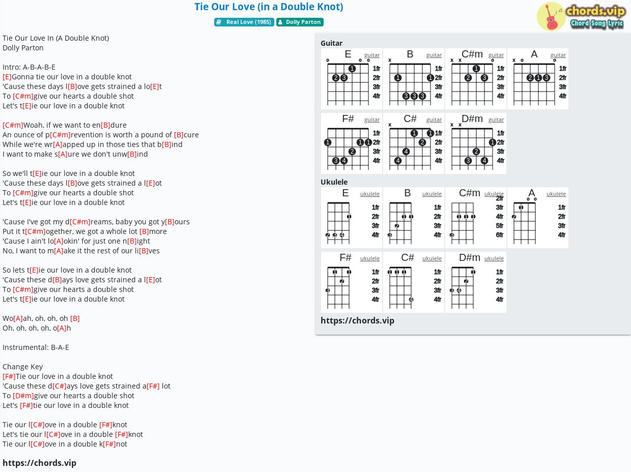 Chord Tie Our Love In A Double Knot Dolly Parton Tab Song Lyric Sheet Guitar Ukulele Chords Vip