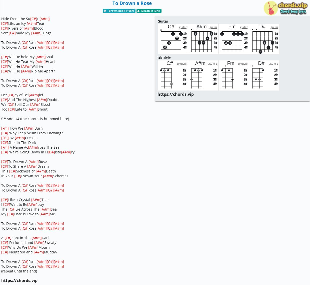 Chord To Drown a Rose   Death in June   tab, song lyric, sheet ...