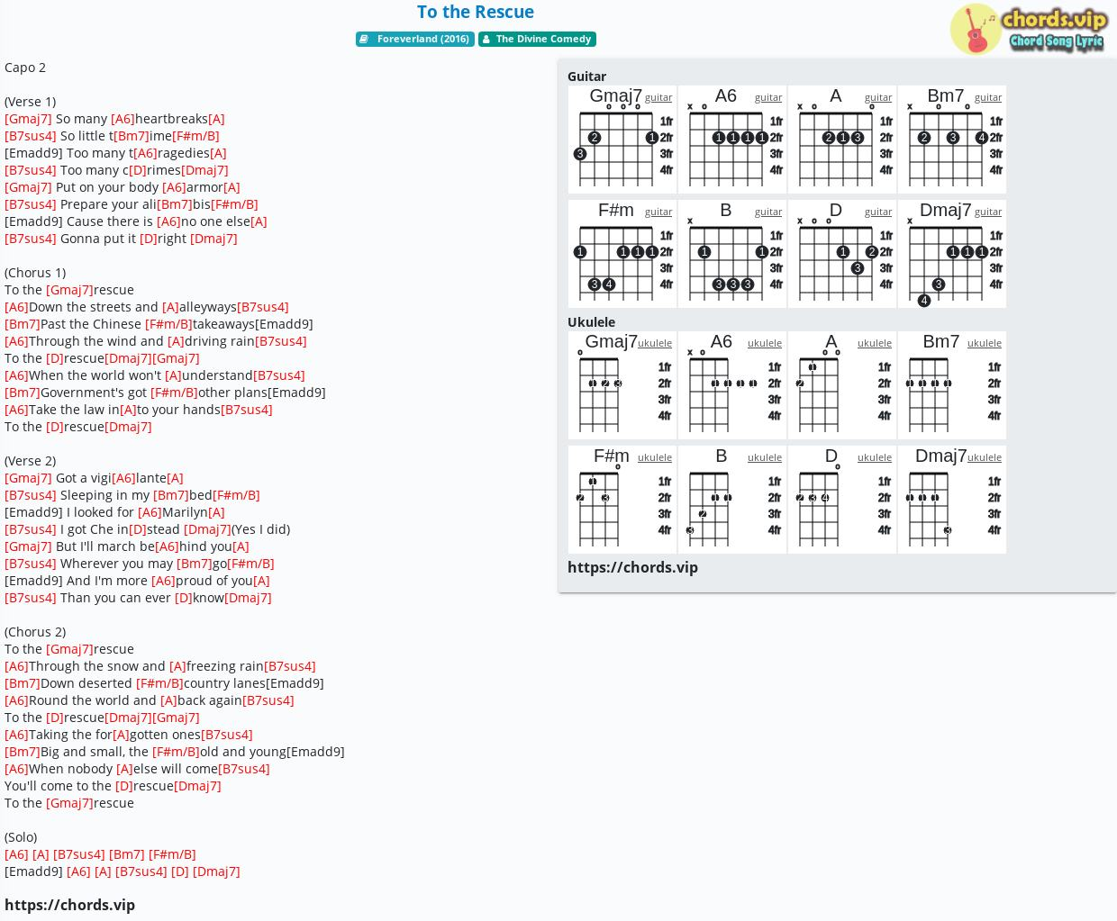 Chord To the Rescue   The Divine Comedy   tab, song lyric, sheet ...