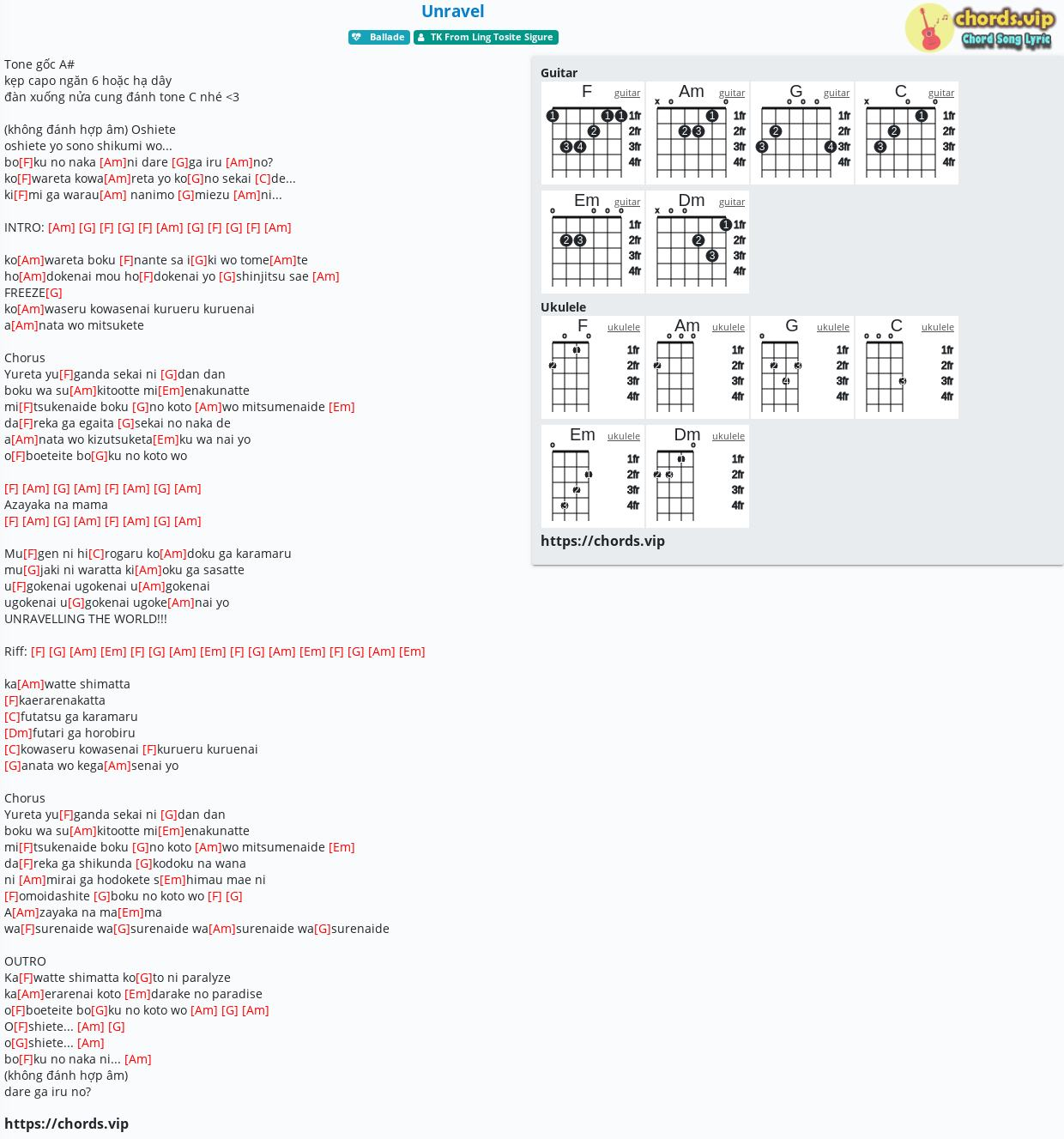 Chord Unravel   TK From Ling Tosite Sigure   tab, song lyric ...