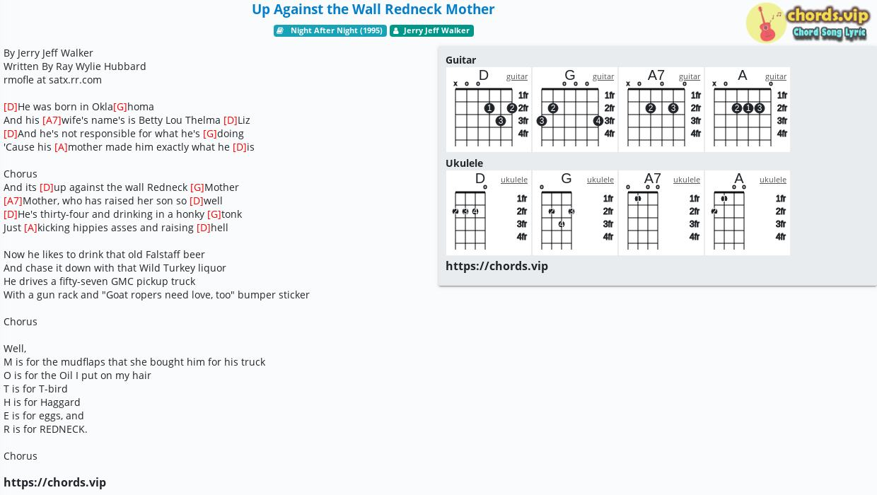 Chord Up Against the Wall Redneck Mother   Jerry Jeff Walker ...