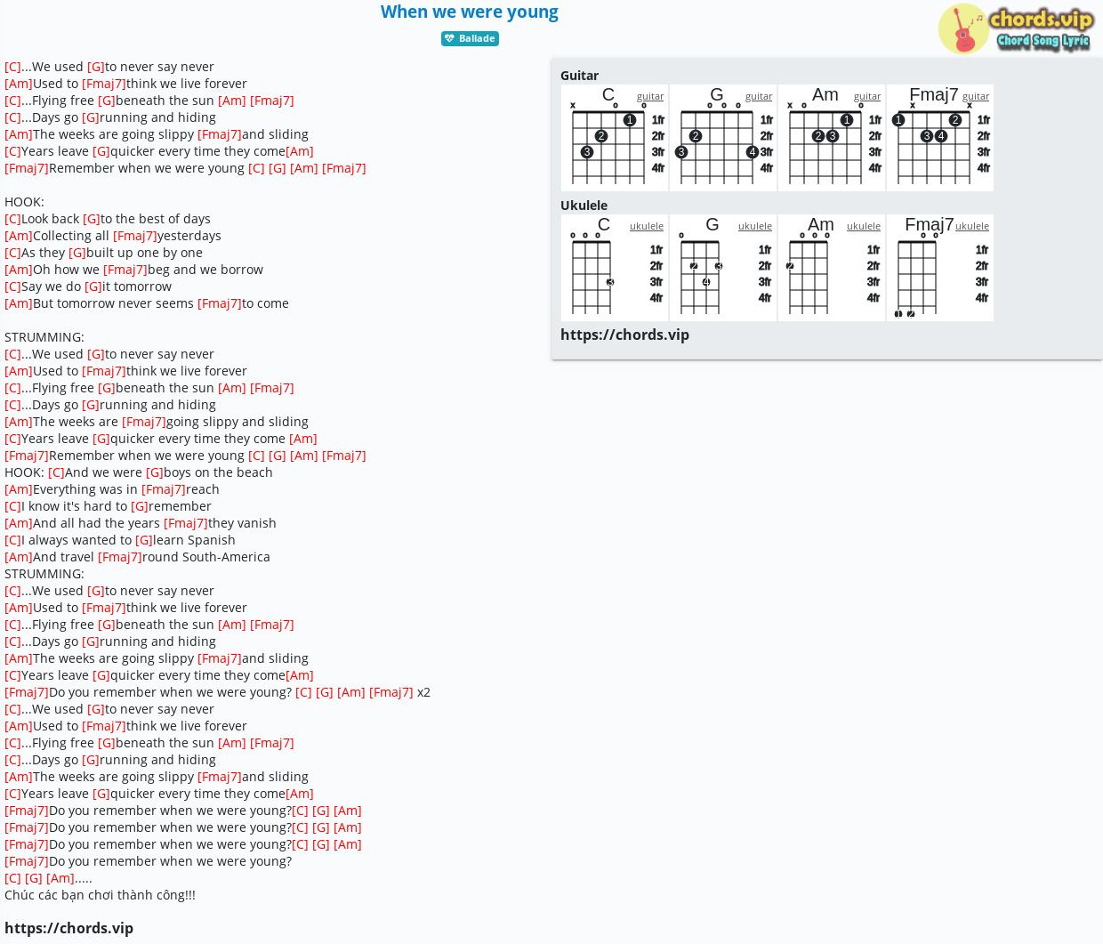 Chord When we were young   tab, song lyric, sheet, guitar ...