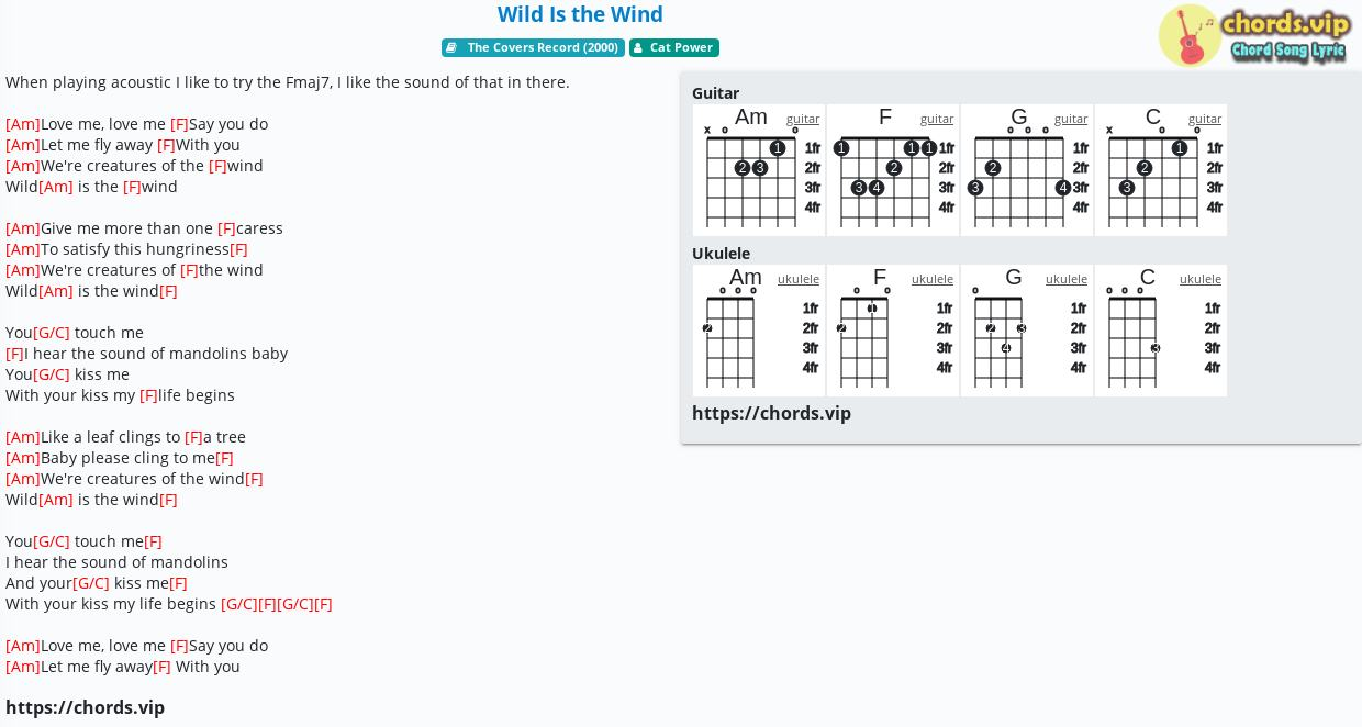 Chord Wild Is the Wind   Cat Power   tab, song lyric, sheet ...